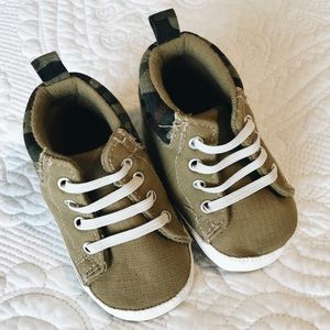 Tan and Camo Baby High Tops, 3-6 months